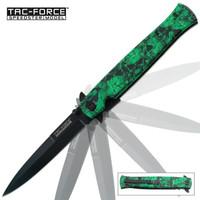 Tac Force Green Skull Folding Pocket Knife