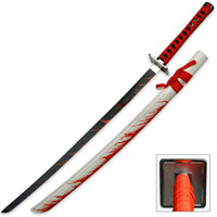 Blood Warrior White Katana Sword With Scabbard