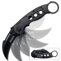 Black Tac-Force Spring Assist Military Karambit Folding Knife