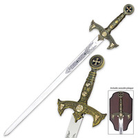 Knights Templar Long Sword & Wall Plaque
