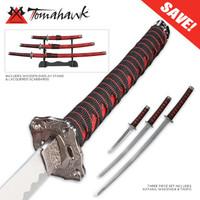 Crimson Samurai 3 Piece Sword Set