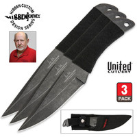 Gil Hibben Stonewashed Professional Large Throwing Knives 3 pc. Set