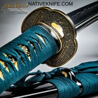 Shikoto Hammer-Forged Longquan Master Teal Katana Sword UC3237