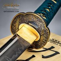 Shikoto Hammer-Forged Longquan Master Teal Wakizashi Samurai Sword UC3238