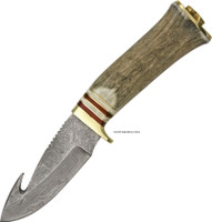 "GUT HOOK 8 3/4"" DAMASCUS SKINNER KNIFE DM-1047"