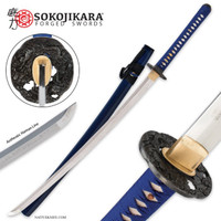 Sokojikara Turbulent Blue Handmade Katana Samurai Sword Hand Forged Clay Tempered T10 High Carbon Steel