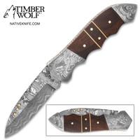 Timber Wolf Matterhorn Damascus Pocket Knife