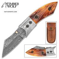 Timber Wolf Zimbabwe Damascus Pocket Knife