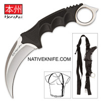 Silver Honshu Karambit Knife with Shoulder Harness Sheath UC2977