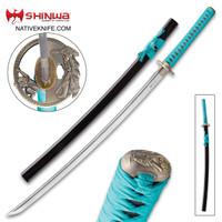 Shinwa Regal Teal Damascus Katana Sword KZ6202TDZ