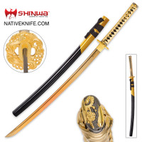 Shinwa Golden Knight Katana Sword with Wooden Scabbard KZ1010