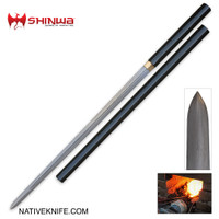 Shinwa Black Shikomizue Double Edged Ninja Sword Damascus Steel KZ351DDZ