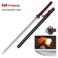 Shinwa Damascus Steel Red Knight Katana Sword Hand Forged KZ747MDZ