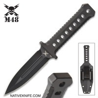 M48 OPS Black Combat Dagger With Sheath CNC Machined D2 Tool Steel UC3375
