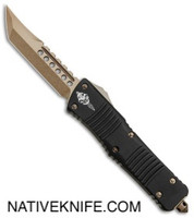 Microtech Combat Troodon Hellhound Tanto OTF Knife Black Bronzed 219-13