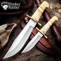 Timber Rattler Camel Bone Bowie Two Knife Set