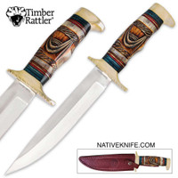 Timber Rattler Whispering Winds Bowie Knife Genuine Bone Fixed Blade