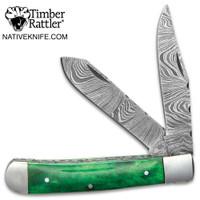 Timber Rattler Rain Forest Pocket Knife Damascus Steel Blades