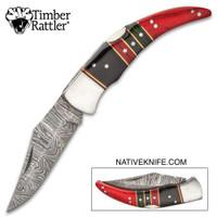 Timber Rattler Painted Desert Damascus Steel Knife