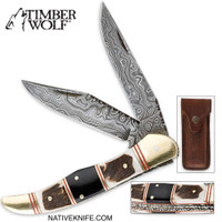 Timber Wolf Filework Hunter Damascus Pocket Knife