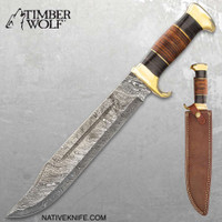 Timber Wolf Tanis Tomb Knife With Sheath - Damascus Steel Blade