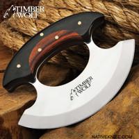 Timber Wolf Shredder Ulu Knife With Sheath