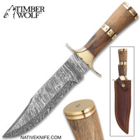 Timber Wolf Tutankhamun Damascus Fixed Blade Knife With Sheath