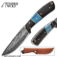 Timber Wolf Water Buffalo Fixed Blade Damascus Knife With Sheath