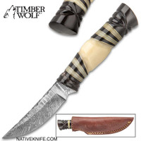 Timber Wolf Damascus Pygmy Fixed Blade Knife With Sheath TW794