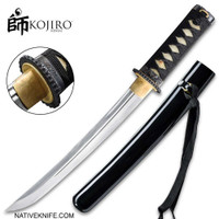 Kojiro Black Tanto Sword With Scabbard 1045 Carbon Steel Blade