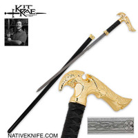 Kit Rae Gold Axios Forged Sword Cane KR0056G