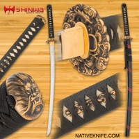 Shinwa Dragon Lair Katana With Scabbard 1060 Carbon Steel Blade