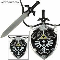 Legend of Zelda Hylian Shield Links Master Sword Necklace Black