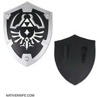 Full Size Deluxe Link Hylian Zelda Shield with Grip & Handle Black