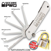 Secure Pro Padlock With Folding Lock Pick Set