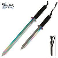 Full Tang Ti-Coated Rainbow Sword Set & Sheath