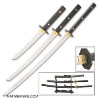 3-Piece Samurai Full Tang Sword Set