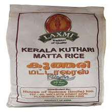 Laxmi kerala Kuthari Matta Rice 20 lbs. Kerala matta rice is also known as rosematta rice or Palakkadan matta rice or Kerala red rice or red parboiled rice.It is different from brown rice. Kerala matta rice is also known as rosematta rice or Palakkadan matta rice or Kerala red rice or red parboiled rice.It is different from brown rice. Popular in Kerala and Sri Lanka where it is used on a regular basis for idlies, appams and plain rice. The robust, earthy flavor of Red Matta makes it an enticing companion to lamb, beef or game meats. Rosematta Rice is grown in Tamil Nadu and Kerala in South India. It is rich in fibre and nutrients. Rose Matta Rice is the rice having the outer bran being removed. The grains are yellowish pink from being parboiled with the reddish out layers. Rose Matta Rice maintains a pink hue as well as its flavor on cooking. Like all brown or par boiled rice, Red Matta has a lengthy cook time and requires extra water.