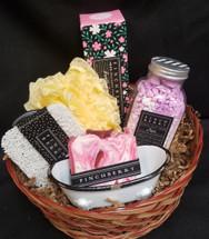 A Perfect Gift for your special someone.  This basket includes 1 Finch Berry Soap, soap saver, 1 soap dish, 1 lacey loofa, 1 lotion, 1 salt soak, hand cream!  This product is made in Florida and is all vegan made products!  They smell good enough to eat!  Grab one today!    ***Baskets may vary****