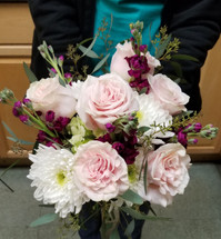 Mix of roses, cremons, stock and eucalypts