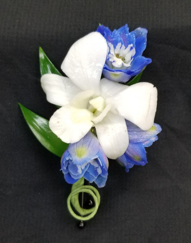 Delphinine & Orchid pin on Boutonniere