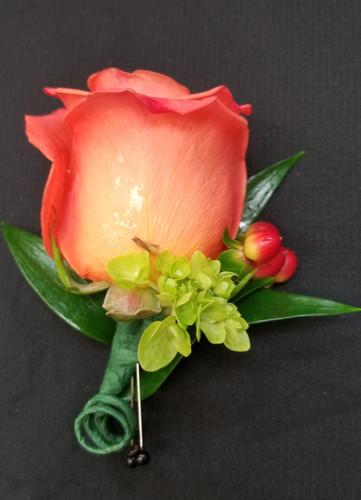Orange rose boutonniere