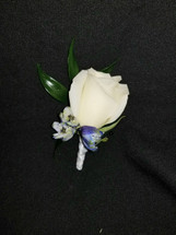 White roses with blue delphinium accents with a ribbon wrapped stem
