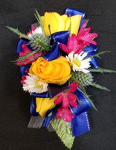 Colorful mixed wristlet corsage, perfect for a Multi color Dress!