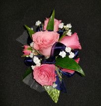 Pink roses with navy ribbon
