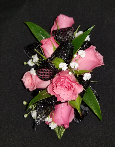 Pink roses with black ribbon