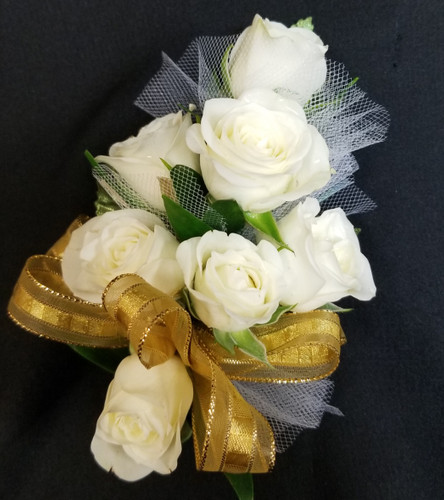 White spray roses with gold ribbon