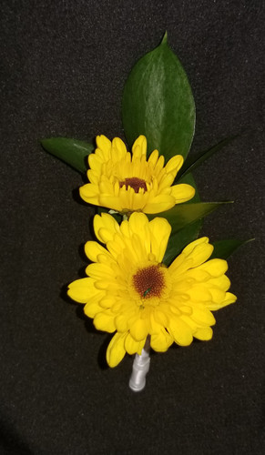 Yellow daisy poms with a ribbon wrapped stem