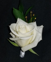 White rose with a ribbon wrapped stem and accenting gold gems