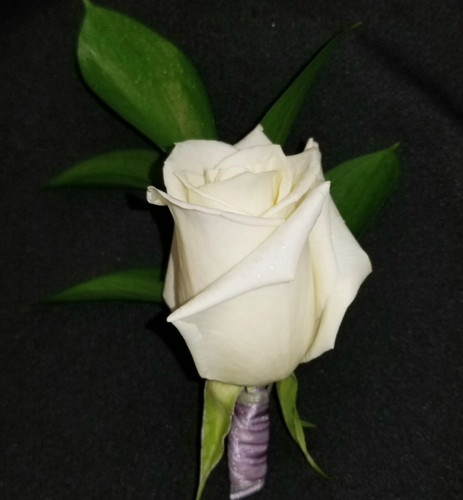 White rose with a  lavender/ iridescent ribbon wrapped stem